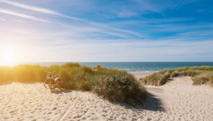 Bicycle tour at the dunes on North Sea in Zeeland, Netherlands- Stock Photo or Stock Video of rcfotostock | RC-Photo-Stock