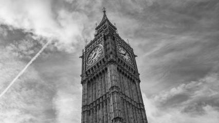 Big Ben against cloudy sky in black and white colors, london, uk- Stock Photo or Stock Video of rcfotostock | RC-Photo-Stock