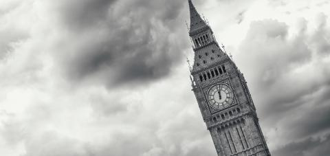 Big Ben against dramatic cloudy sky in monochrome colors in London- Stock Photo or Stock Video of rcfotostock | RC-Photo-Stock