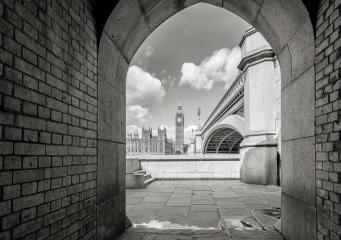 Big Ben and houses of parliament through the pedestrian tunnel in London, England- Stock Photo or Stock Video of rcfotostock | RC-Photo-Stock