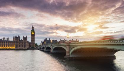 Big Ben and Westminster Bridge at sunset with dramatic cloudy sky, London, UK- Stock Photo or Stock Video of rcfotostock | RC-Photo-Stock