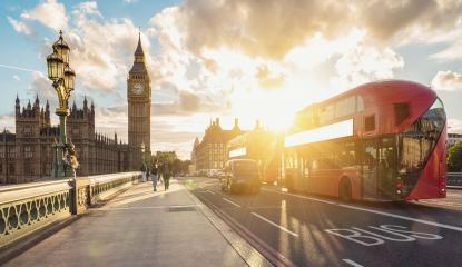 Big ben clock tower at sunset with red double decker bus, London- Stock Photo or Stock Video of rcfotostock | RC-Photo-Stock