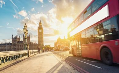 Big Ben, Westminster Bridge and red double decker bus at sunset in London - Stock Photo or Stock Video of rcfotostock | RC-Photo-Stock
