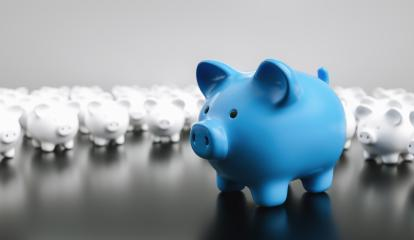 Big blue piggy bank with small white piggy banks, investment and development concept - Stock Photo or Stock Video of rcfotostock | RC-Photo-Stock