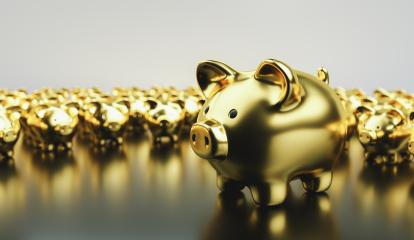 Big golden piggy bank in front of small golden piggy banks, investment and development concept - Stock Photo or Stock Video of rcfotostock | RC-Photo-Stock