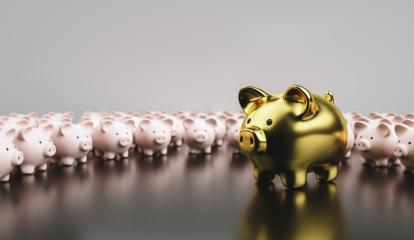 Big golden piggy bank in front of small pink piggy banks, investment and development concept  : Stock Photo or Stock Video Download rcfotostock photos, images and assets rcfotostock | RC-Photo-Stock.: