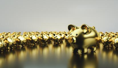 Big golden piggy bank with small golden piggy banks, investment and development concept - Stock Photo or Stock Video of rcfotostock | RC-Photo-Stock