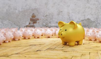Big golden piggy bank with small pink piggy banks, investment and development concept - Stock Photo or Stock Video of rcfotostock | RC-Photo-Stock