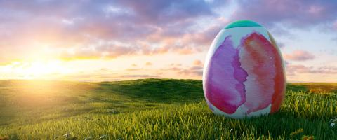 big painted colorful watercolor easter egg at easter on sunrise or sunset on a meadow landscape, Panoramic backgroud, with copyspace for your individual text. : Stock Photo or Stock Video Download rcfotostock photos, images and assets rcfotostock | RC-Photo-Stock.: