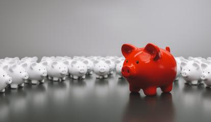 Big red piggy bank with small white piggy banks, investment and development concept - Stock Photo or Stock Video of rcfotostock | RC-Photo-Stock