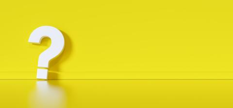 Big white question mark in front of yellow wall with copy space as faq concept- Stock Photo or Stock Video of rcfotostock | RC-Photo-Stock