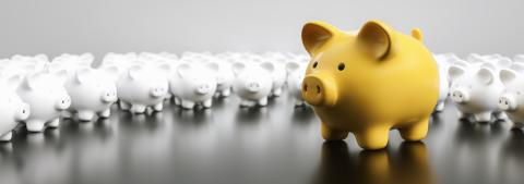Big yellow piggy bank with small white piggy banks, banner size- Stock Photo or Stock Video of rcfotostock | RC-Photo-Stock