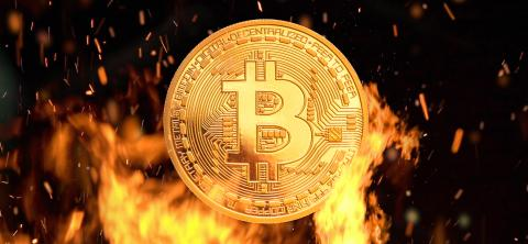 Bitcoin - bit coin BTC cryptocurrency money burning in flames and fire sparkles- Stock Photo or Stock Video of rcfotostock   RC-Photo-Stock