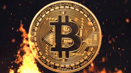 Bitcoin - bit coin BTC cryptocurrency money burning in flames and fire sparkles- Stock Photo or Stock Video of rcfotostock | RC-Photo-Stock