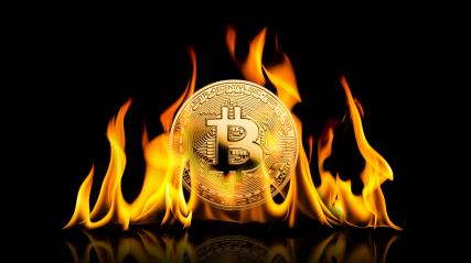 Bitcoin - bit coin BTC cryptocurrency money burning in flames on black background- Stock Photo or Stock Video of rcfotostock | RC-Photo-Stock