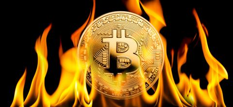 Bitcoin - BTC cryptocurrency money burning in flames : Stock Photo or Stock Video Download rcfotostock photos, images and assets rcfotostock | RC-Photo-Stock.: