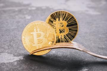 Bitcoin and Bitcoin-Cash Hard Fork, golden Crytocurrency  concept image- Stock Photo or Stock Video of rcfotostock | RC-Photo-Stock