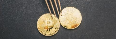 bitcoin (BTC) and Bitcoin Cash (BCH) Hard Fork, digital cryptocurrency concept image, banner size- Stock Photo or Stock Video of rcfotostock | RC-Photo-Stock