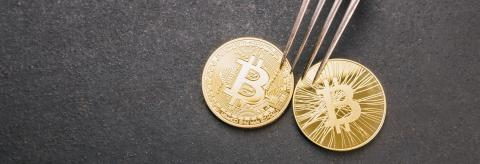 bitcoin (BTC) and Bitcoin Cash (BCH) Hard Fork, digital cryptocurrency concept image, banner size including copy space : Stock Photo or Stock Video Download rcfotostock photos, images and assets rcfotostock | RC-Photo-Stock.: