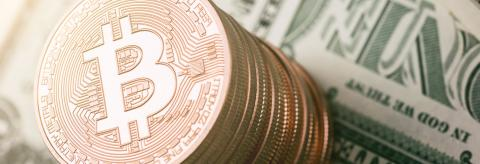Bitcoin (BTC) cryptocurrency on dollar notes, digital money- Stock Photo or Stock Video of rcfotostock | RC-Photo-Stock