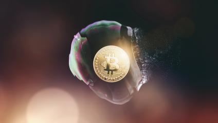 Bitcoin bubble burst - Bitcoin-Crash - digital cryptocurrency concept image- Stock Photo or Stock Video of rcfotostock | RC-Photo-Stock