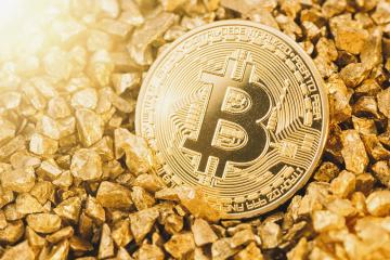 Bitcoin with gold nuggets- Stock Photo or Stock Video of rcfotostock | RC-Photo-Stock
