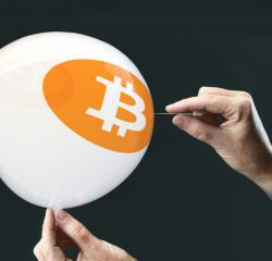 bitcoins - bit coin BTC the new virtual money on balloon with needle in hand before burst : Stock Photo or Stock Video Download rcfotostock photos, images and assets rcfotostock | RC-Photo-Stock.:
