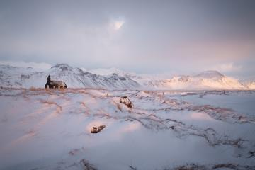 Black church Budir; island, Winter, Schnee : Stock Photo or Stock Video Download rcfotostock photos, images and assets rcfotostock | RC-Photo-Stock.:
