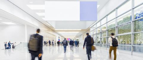 Blank advertising space at trade show or congress over many anonymous people- Stock Photo or Stock Video of rcfotostock | RC-Photo-Stock