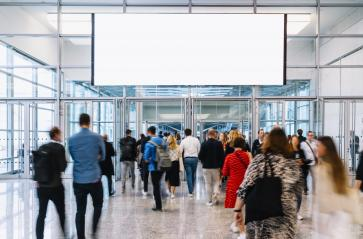 Blank advertising space at trade show or congress over many anonymous people : Stock Photo or Stock Video Download rcfotostock photos, images and assets rcfotostock | RC-Photo-Stock.:
