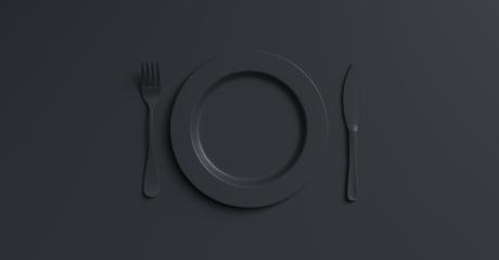 Blank black plate mockup with fork and knife, top view. Clear ceramic dishware with set cutlery design. Empty black  table ware for lunch or dinner in cafe. copyspace for your individual text.- Stock Photo or Stock Video of rcfotostock | RC-Photo-Stock