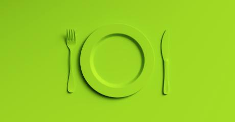 Blank green plate mockup with fork and knife, top view. Clear ceramic dishware with set cutlery design. Empty yellow table ware for lunch or dinner in cafe. copyspace for your individual text.- Stock Photo or Stock Video of rcfotostock | RC-Photo-Stock