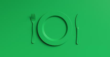 Blank green plate mockup with fork and knife, top view. Clear ceramic dishware with set cutlery design. Empty green  table ware for lunch or dinner in cafe. copyspace for your individual text.- Stock Photo or Stock Video of rcfotostock   RC-Photo-Stock