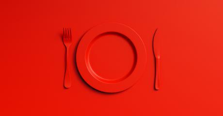 Blank red plate mockup with fork and knife, top view. Clear ceramic dishware with set cutlery design. Empty red table ware for lunch or dinner in cafe. copyspace for your individual text.- Stock Photo or Stock Video of rcfotostock | RC-Photo-Stock