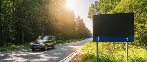 Blank Road Sign at the forest street with car, copyspace for your individual text.- Stock Photo or Stock Video of rcfotostock | RC-Photo-Stock