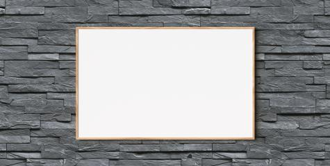 blank wooden frame hanging on brick wall as mock-up, copyspace for your individual text.- Stock Photo or Stock Video of rcfotostock | RC-Photo-Stock