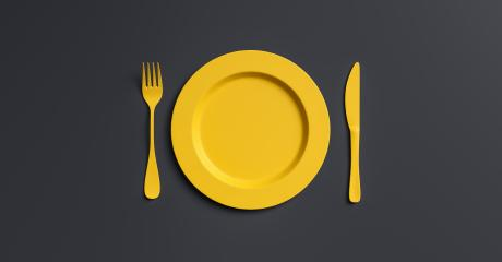Blank yellow plate mockup with fork and knife, top view. Clear ceramic dishware with set cutlery design. Empty yellow table ware for lunch or dinner in cafe. copyspace for your individual text.- Stock Photo or Stock Video of rcfotostock | RC-Photo-Stock