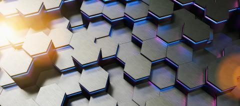 Blue and pink neon uv abstract hexagons background pattern 3D rendering - Illustration - Stock Photo or Stock Video of rcfotostock | RC-Photo-Stock