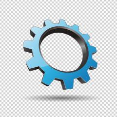 blue gear or cogwheel 3d vector icon as logo formation in silver metalic glossy colors, Corporate design. Vector illustration. Eps 10 vector file.- Stock Photo or Stock Video of rcfotostock | RC-Photo-Stock