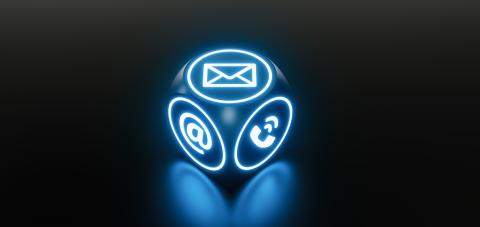 Blue Neon light cube with many contact options for communication support hotline- Stock Photo or Stock Video of rcfotostock | RC-Photo-Stock