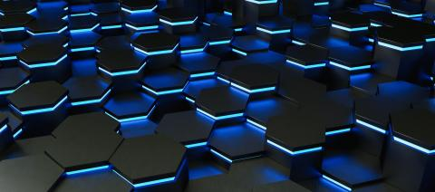 Blue neon uv abstract hexagons background pattern 3D rendering - Illustration - Stock Photo or Stock Video of rcfotostock | RC-Photo-Stock