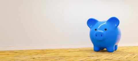 blue piggy bank against a wall - copyspace for your individual text.- Stock Photo or Stock Video of rcfotostock | RC-Photo-Stock