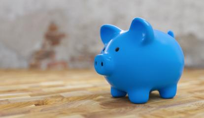 blue Piggy bank old with brick wall, copyspace for your individual text.- Stock Photo or Stock Video of rcfotostock | RC-Photo-Stock