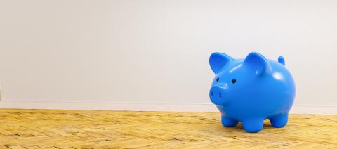blue Piggy Bank, Savings, Currency.  - copyspace for your individual text.- Stock Photo or Stock Video of rcfotostock | RC-Photo-Stock