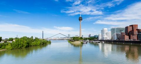 Blue Sky with clouds at summer in Dusseldorf. Rheinturm tower and a bridge, Nordrhein-Westfalen, Germany, Europe.- Stock Photo or Stock Video of rcfotostock | RC-Photo-Stock