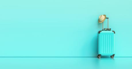 Blue suitcase with sun glasses, hat on pastel blue background. travel concept, with copy space for individual text- Stock Photo or Stock Video of rcfotostock | RC-Photo-Stock