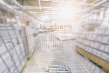 Blurred  Supermarket with empty shopping cart- Stock Photo or Stock Video of rcfotostock | RC-Photo-Stock