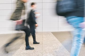 blurred anonymous pedestrian walking in a corridor- Stock Photo or Stock Video of rcfotostock | RC-Photo-Stock