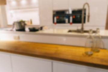 Blurred background,Modern kitchen with bokeh light, vintage filter- Stock Photo or Stock Video of rcfotostock | RC-Photo-Stock
