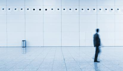 Blurred business man at a trade fair walkway - Stock Photo or Stock Video of rcfotostock | RC-Photo-Stock